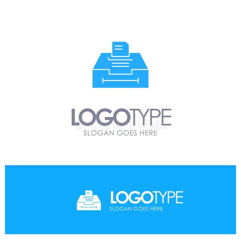 数据,档案,事务,与地方的信息蓝色坚实商标口号的 库存例证