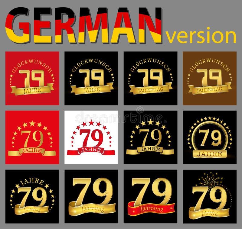 数集七十九79年庆祝设计 您的生日聚会的周年金黄数字模板元素 Tra 库存例证