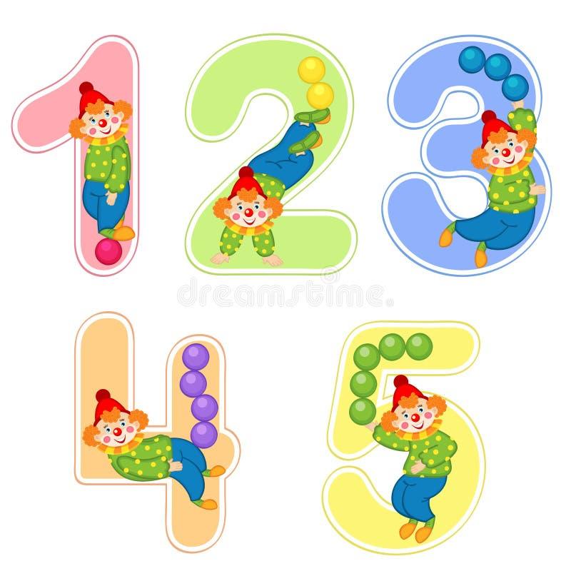 数集与小丑变戏法者的从1到5 向量例证