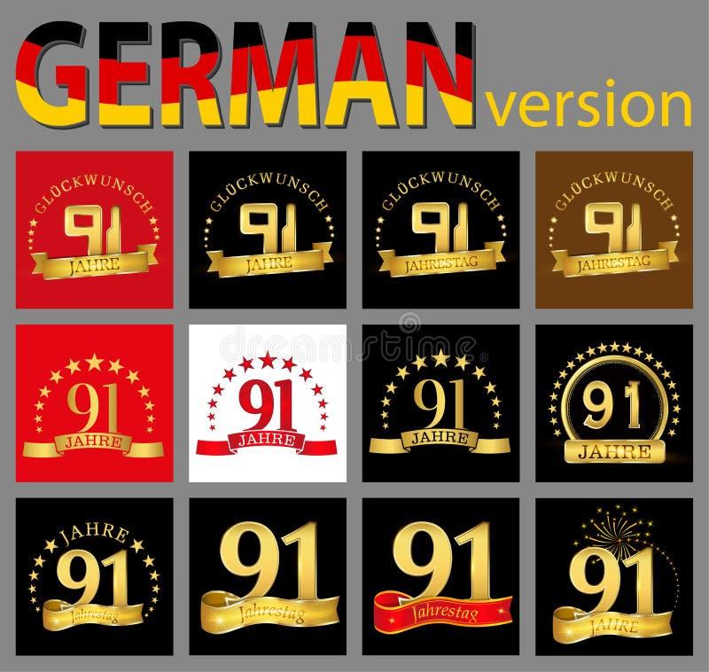 数集九十一91年庆祝设计 您的生日聚会的周年金黄数字模板元素 trans. 库存例证