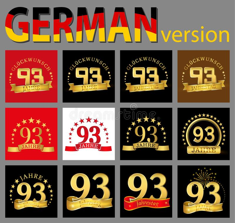 数集九十三93年庆祝设计 您的生日聚会的周年金黄数字模板元素 Tra 向量例证
