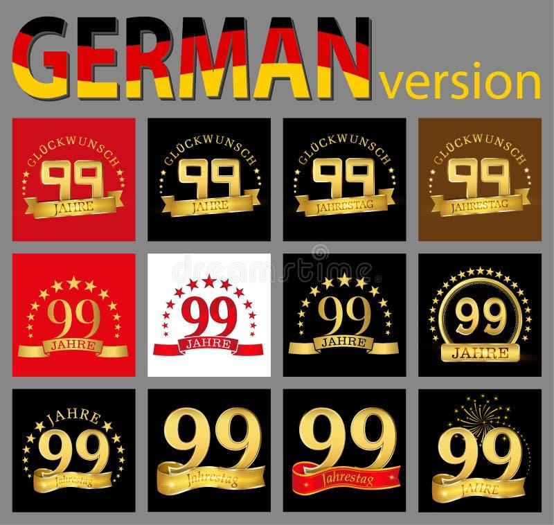 数集九十九99年庆祝设计 您的生日聚会的周年金黄数字模板元素 tran 库存例证