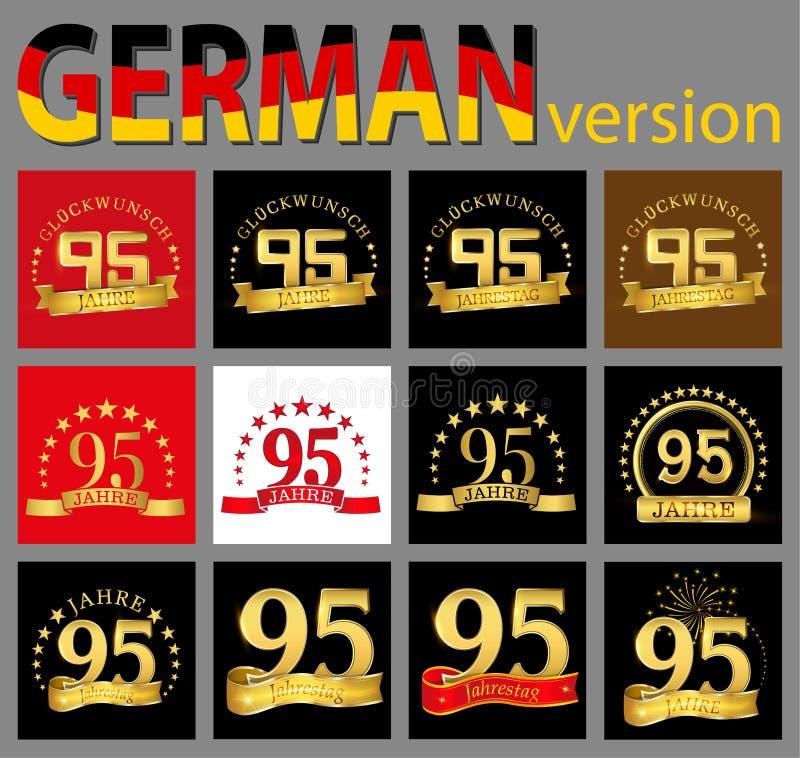 数集九十五95年庆祝设计 您的生日聚会的周年金黄数字模板元素 tran 皇族释放例证