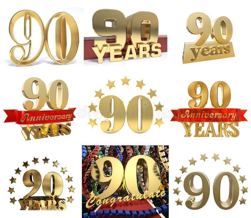 数集九十年90年庆祝设计 皇族释放例证