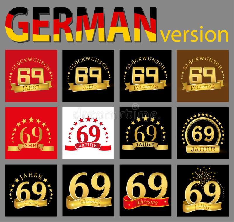 数集六十九69年庆祝设计 您的生日聚会的周年金黄数字模板元素 trans. 向量例证