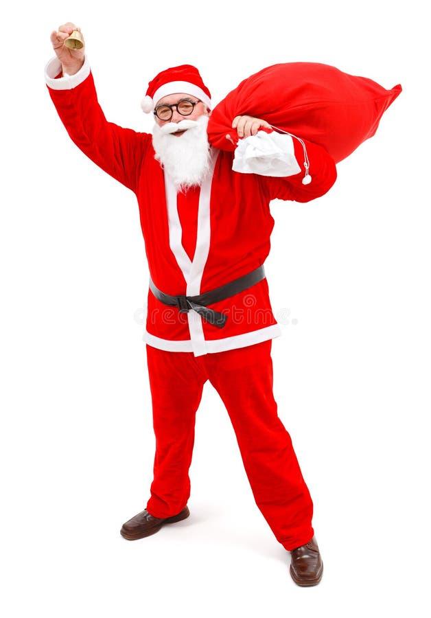 敲响圣诞老人小的叮当声的克劳斯 库存图片