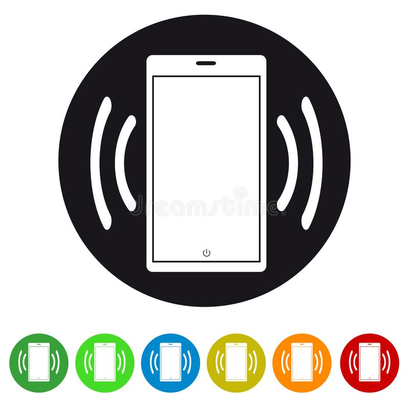 敲响或振动阿普斯和网站的智能手机移动设备平的象 向量例证