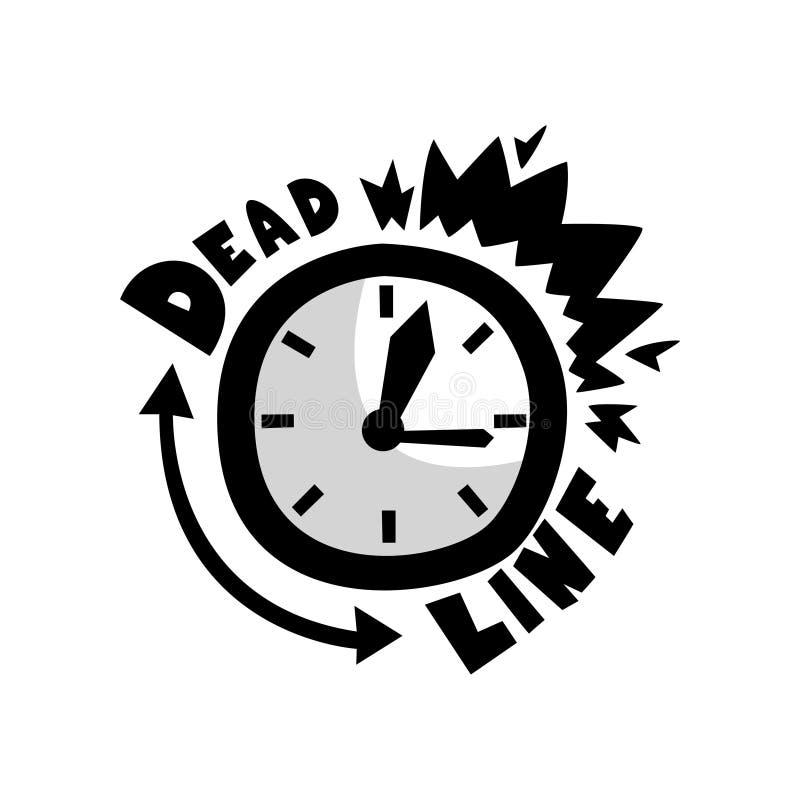 敲响的闹钟,最后期限,守时,时间管理概念,时间用尽在白色的传染媒介例证 库存例证