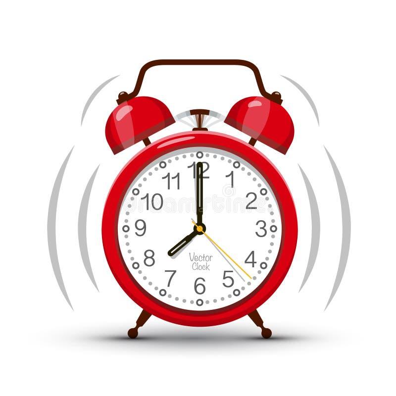 敲响红色闹钟的八个时钟早晨 向量例证