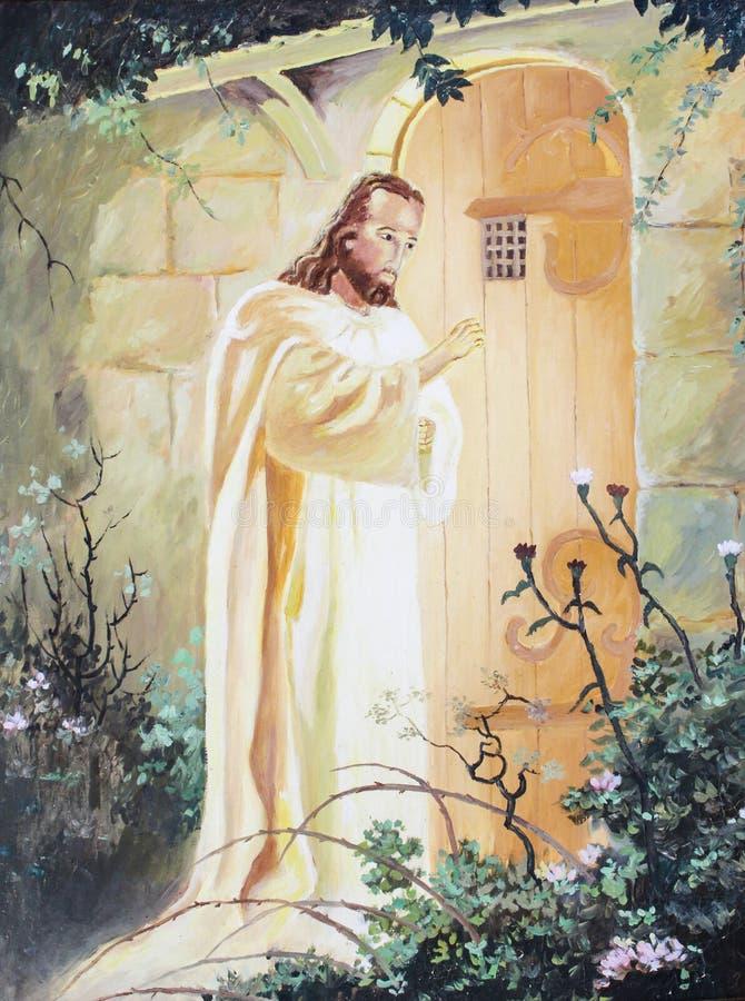 敲在门的耶稣 皇族释放例证