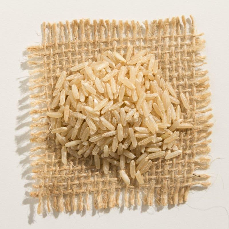整个中国米种子 关闭在粗麻布的五谷 图库摄影