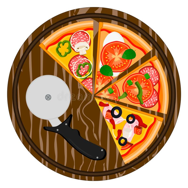 整个圆的热的比萨的例证商标 皇族释放例证