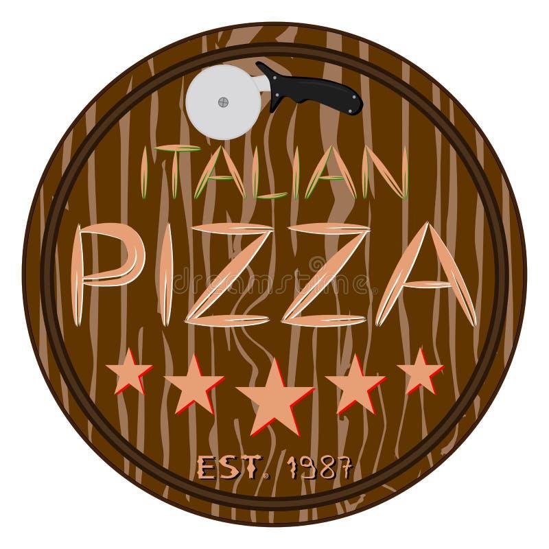 整个圆的热的比萨的例证商标 库存例证