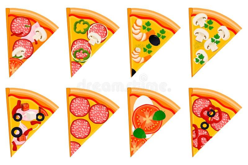 整个圆的热的比萨的例证商标 向量例证
