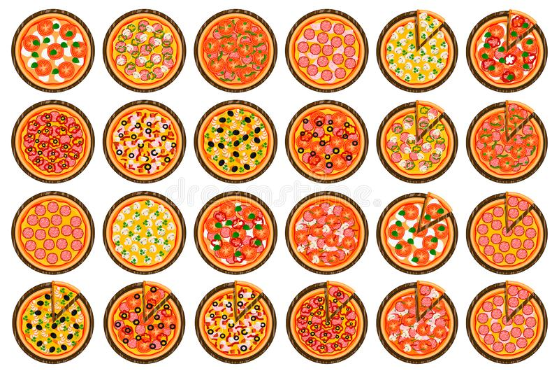 整个圆的热的比萨的,对比萨店菜单的切片三角大五颜六色的集合 皇族释放例证