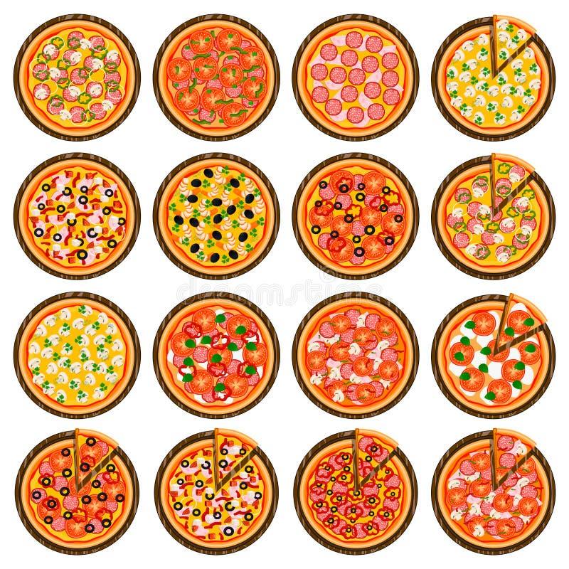 整个圆的热的比萨的,对比萨店菜单的切片三角大五颜六色的集合 库存例证