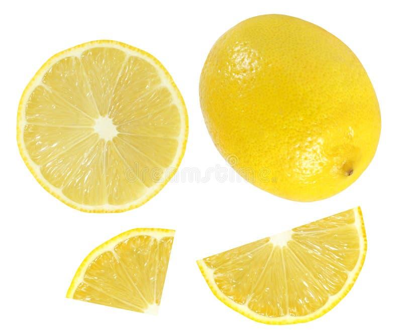 整个在白色backgro水多的黄色隔绝的柠檬和切片 免版税库存照片