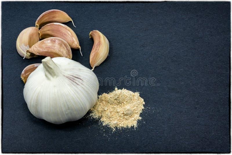 整个大蒜、拨蒜和大蒜粉末在一黑暗的backgrou 免版税库存图片