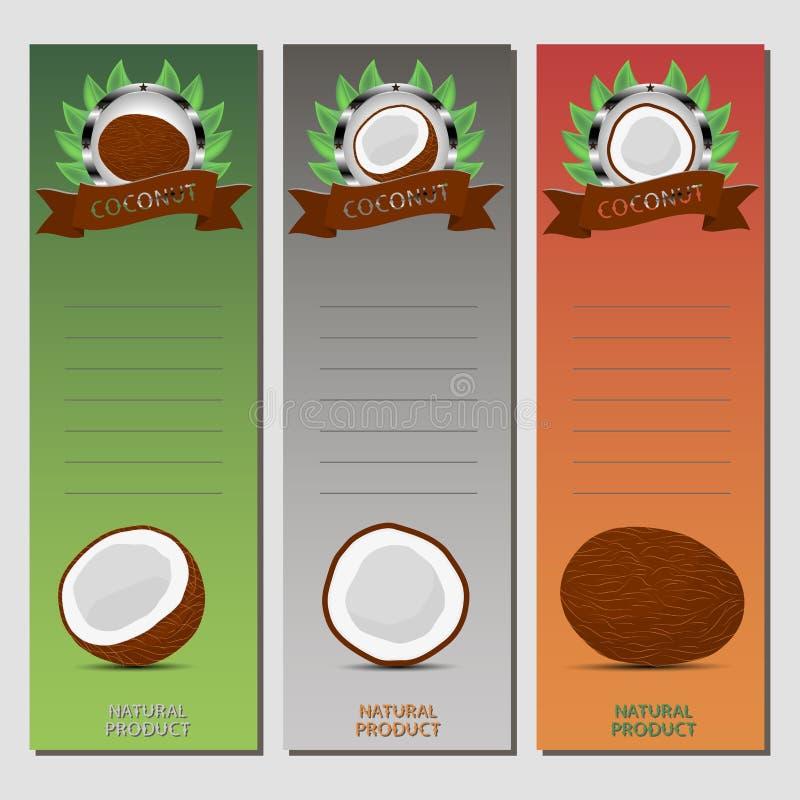 整个成熟果子白色椰子的抽象传染媒介例证商标 向量例证