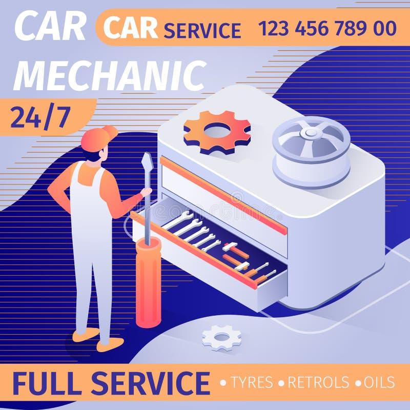 整天汽车修理师服务的广告 皇族释放例证