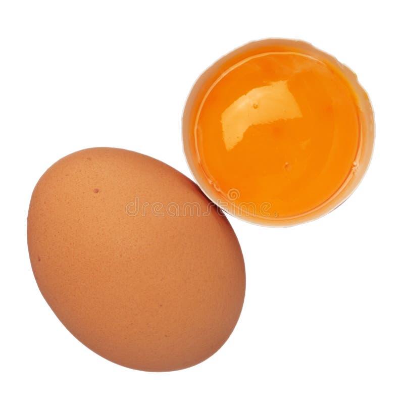 整蛋和在白色查出的壳的蛋黄 库存图片