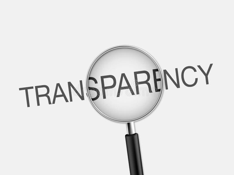 文书工作和放大镜有词透明度的 库存例证