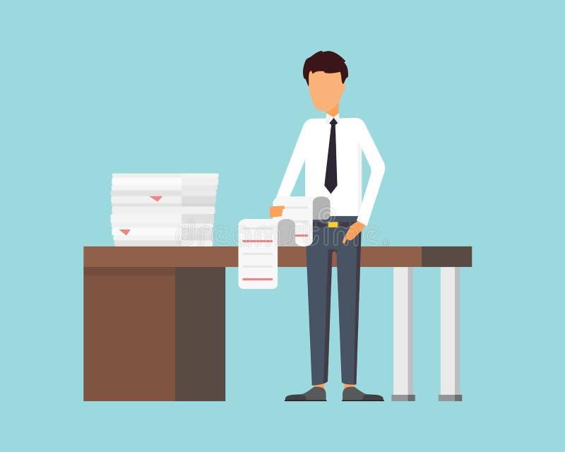 文书工作在办公室 写报告的商人 库存例证