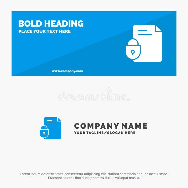 文件、文件、锁、安全、互联网坚实象网站横幅和企业商标模板 向量例证