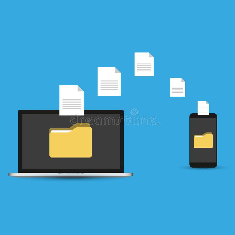 文件传输 手有文件夹的藏品智能手机在屏幕上和文件转移到膝上型计算机 拷贝文件,备份,文件分享 库存例证