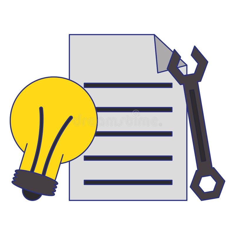 文件和电灯泡光和板钳标志蓝线 皇族释放例证