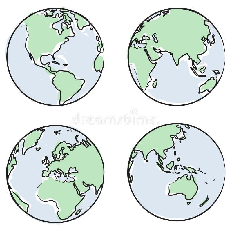 文件地球向量视图 向量例证