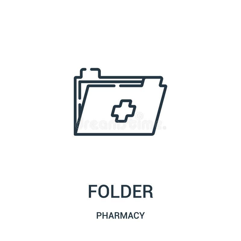 文件夹从药房汇集的象传染媒介 稀薄的线文件夹概述象传染媒介例证 向量例证