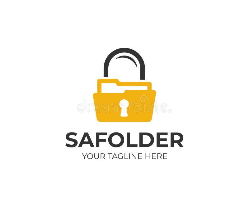 文件夹和锁商标模板 安全文件夹传染媒介设计 皇族释放例证