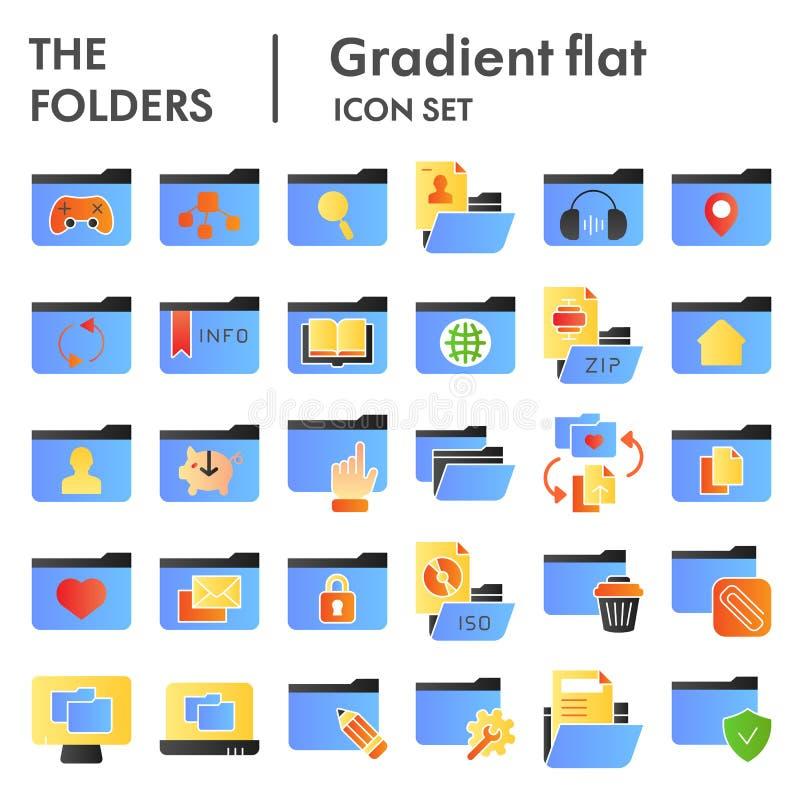 文件夹平的象设置了,计算机文件夹标志汇集,传染媒介剪影,商标例证,文件标志颜色 库存例证