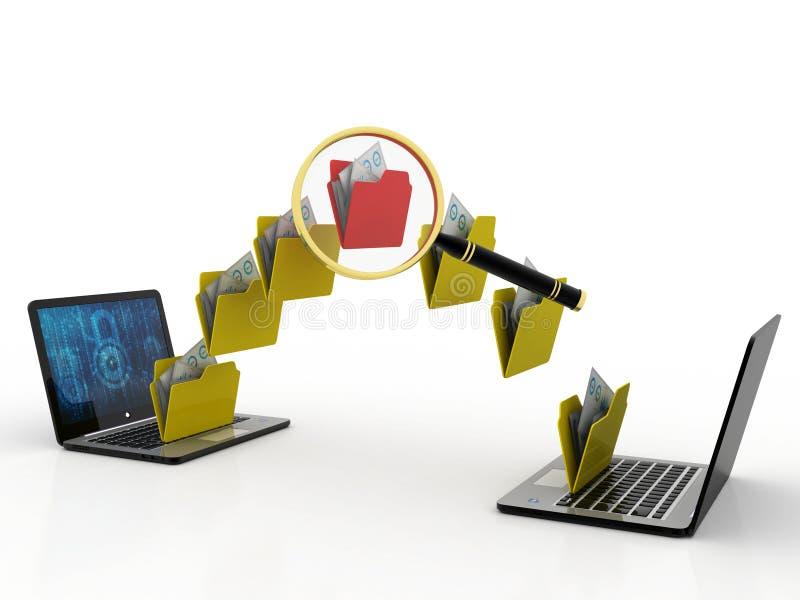 文件夹搜寻3d象-在白色背景隔绝的放大器下的文件夹 向量例证