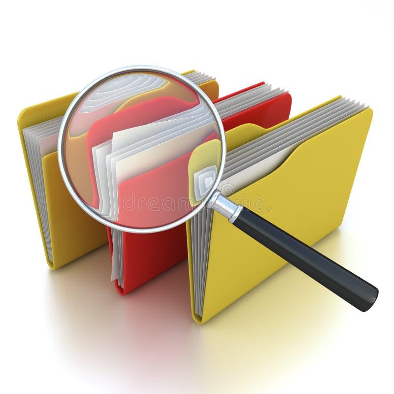 文件夹查出放大器在白色之下 库存例证