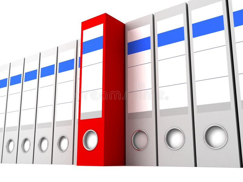 文件夹灰色办公室其他唯一红色的行 皇族释放例证