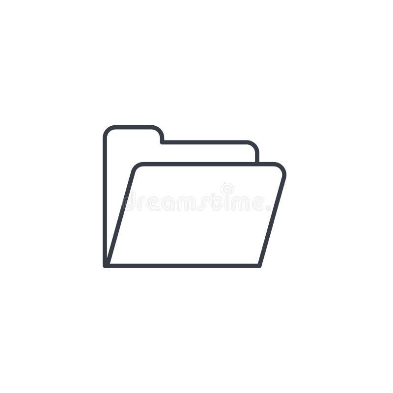 文件夹稀薄的线象 线性传染媒介标志 向量例证