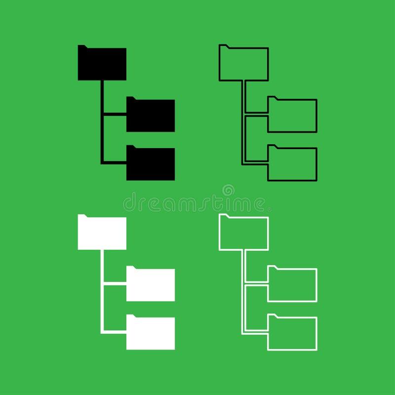 文件夹结构象黑白彩色组 库存例证