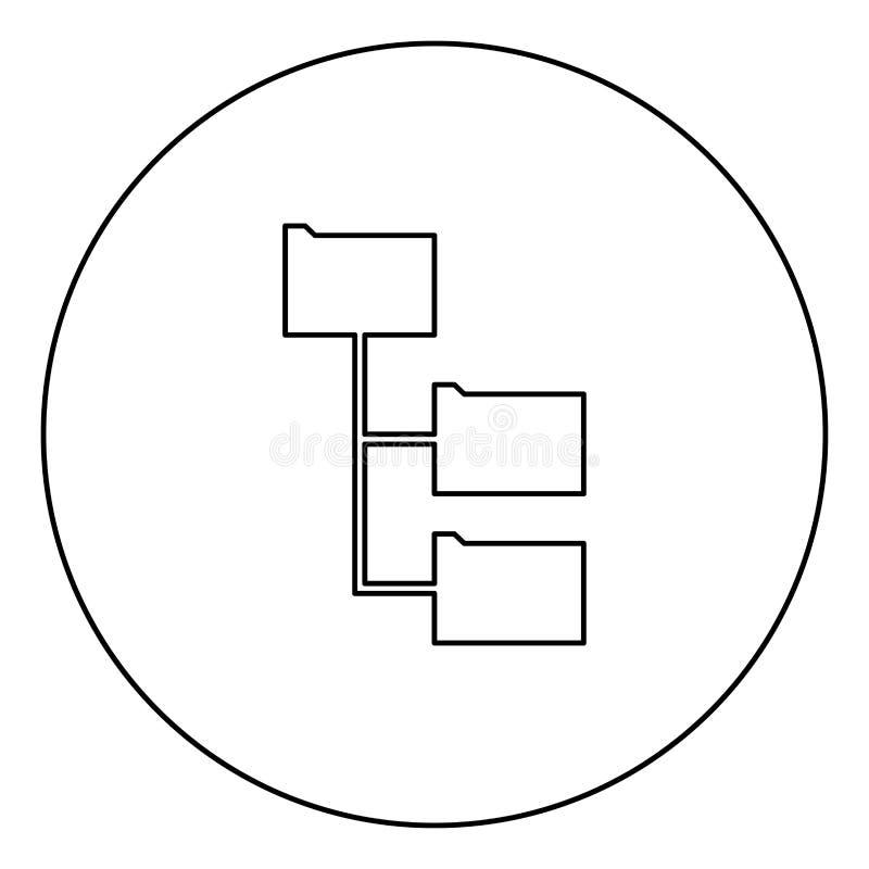 文件夹结构黑色在圈子图象的象概述 皇族释放例证