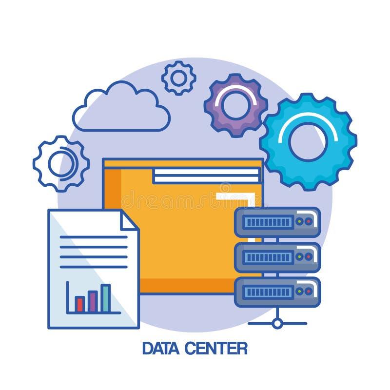 文件夹齿轮数据中心网络主持云彩计算 皇族释放例证