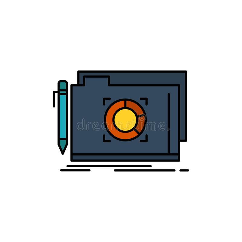 文件夹,锁,目标,文件平的颜色象 传染媒介象横幅模板 向量例证