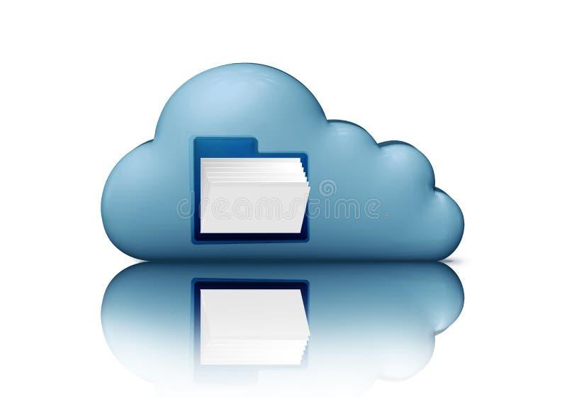 文件存储 与文件夹的蓝色云彩 3d例证在白色隔绝的计算机象 覆盖沟通的计算机计算的概念膝上型计算机被找出的资源 皇族释放例证