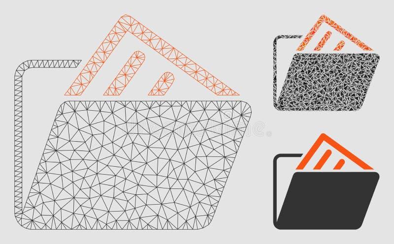 文件文件夹传染媒介滤网接线框模型和三角马赛克象 库存例证