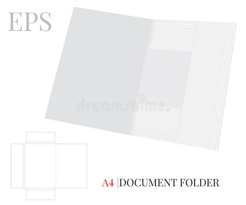 文件文件夹模板A4 与冲切的/激光插队的传染媒介 白色,清楚,空白,被隔绝的文件文件夹嘲笑  向量例证