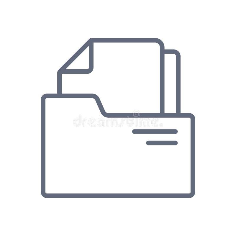 文件文件夹线象汇集 文件在白色背景的传染媒介象 向量例证