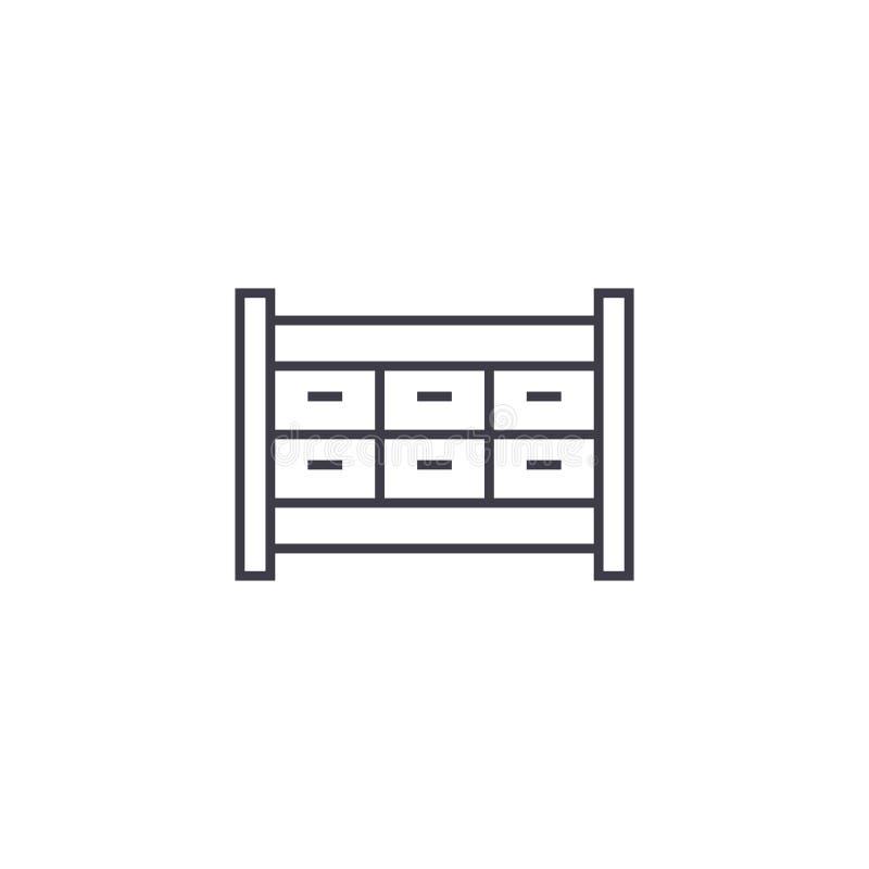 文件柜抽屉传染媒介线象,标志,在背景,编辑可能的冲程的例证 库存例证