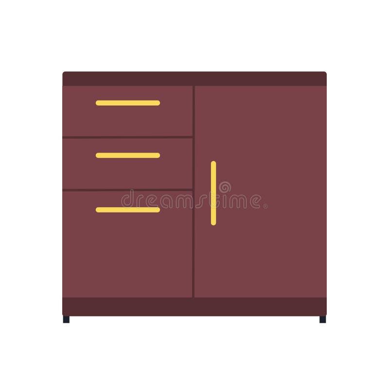 文件柜抽屉档案传染媒介象 商业文件存贮办公室文件夹基准 编目家具箱子 向量例证
