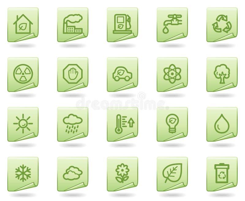 文件生态绿色图标系列万维网 向量例证
