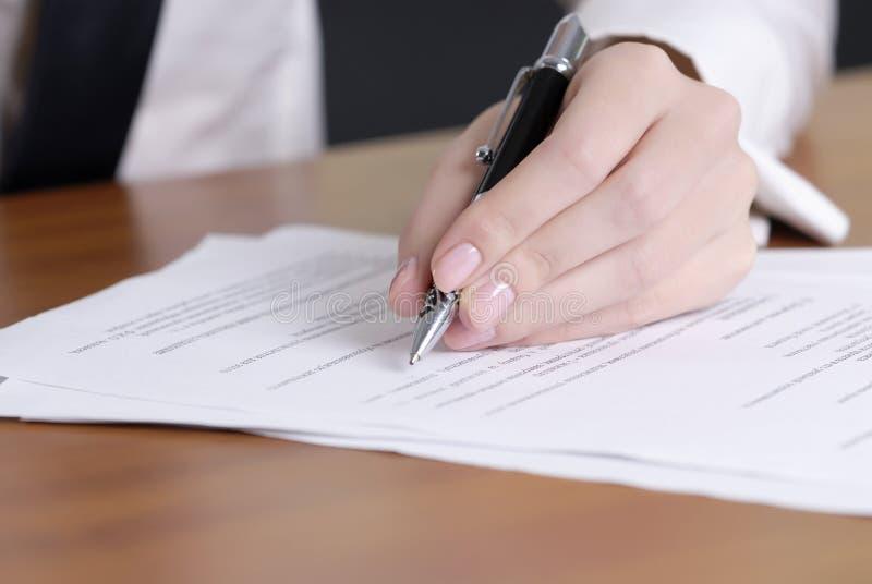 文件签字 免版税库存图片